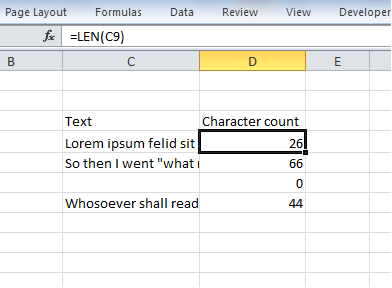 Count characters in a cell with Excel LEN function