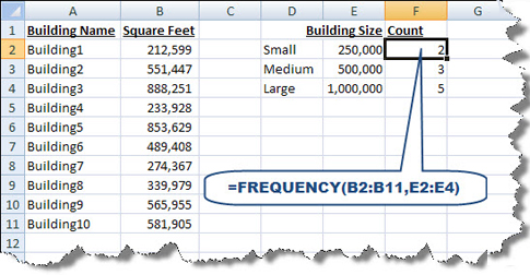 Property floor area worksheet using FREQUENCY function