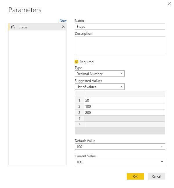 Steps parameter