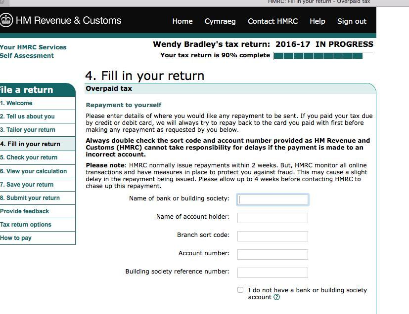 HMRC self assessment screenshot