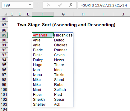 Two-stage sort