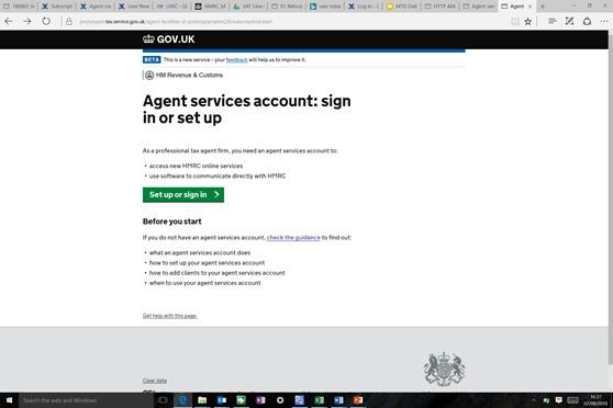Sign in or set up screen
