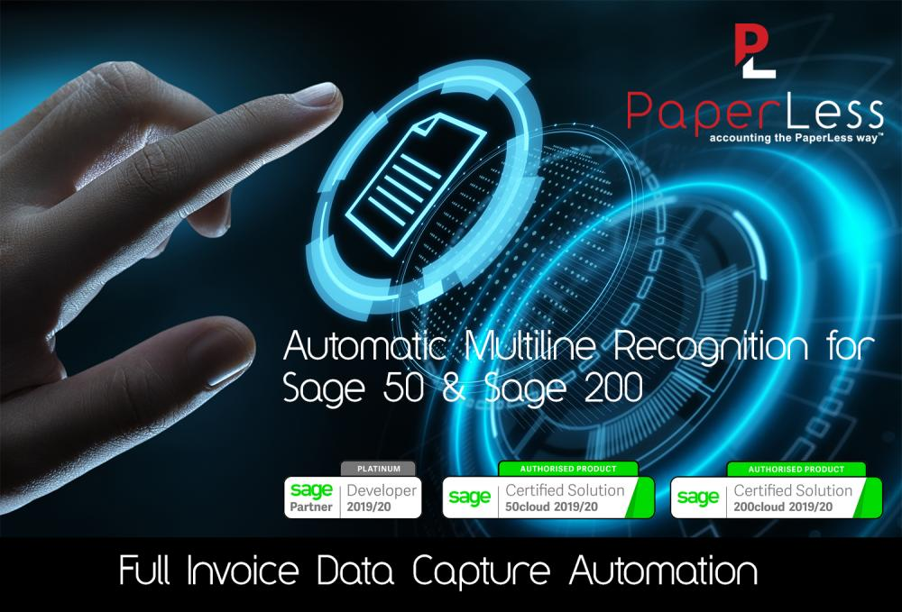 PaperLess Invoice Multiline Recognition for Sage is the best OCR Software to get automatic invoice recognition with your Sage accounting software.