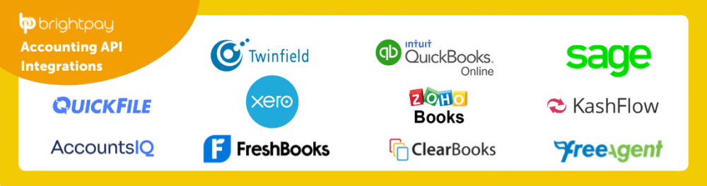 BrightPay Payroll Software is integrated with accounting software including Quickfile, AccountsIQ, Twinfield, Xero, Freshbooks, Intuit Quickbooks Online, Zoho Books, ClearBooks, Sage, Kashflow, and Free Agent.