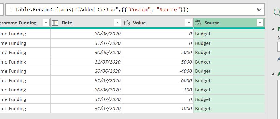 Figure 13: Data showing new Source column.