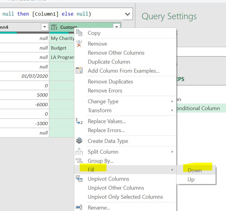 Figure 5: Fill Down option