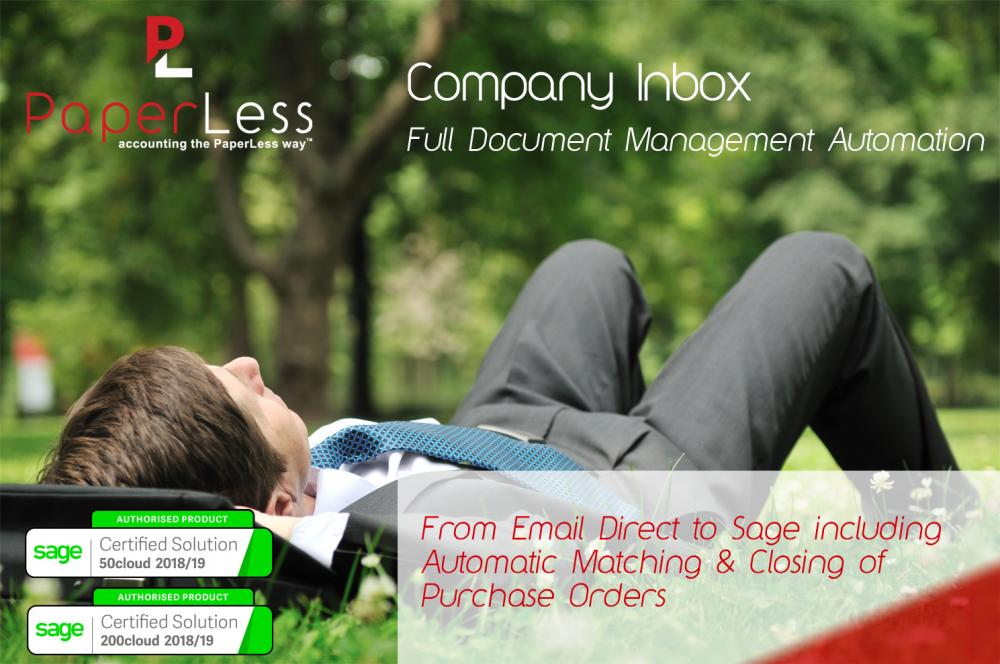PaperLess Company Inbox is a Sage Authorised software that gives Sage 50 and Sage 200 users access to full document management automation.
