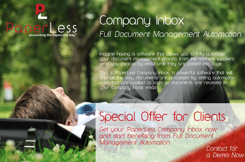 PaperLess Company Inbox, Full Document Management automation for Sage with automation of all emailed invoices