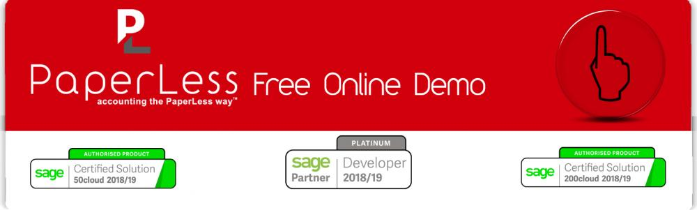 Free Online Demo of PaperLess Document Management for Sage now available for Sage 50 and Sage 200 users to see how Full Document Management automation for Sage works.