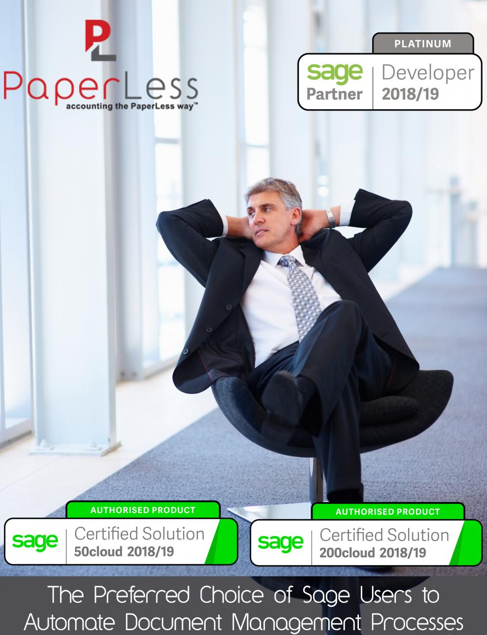PaperLess Document Management gives Sage users All-In one access to full invoice processing automation for Sage 50cloud, Sage 200cloud, Sage 200 Standard Online and Sage 200 Extra Online.