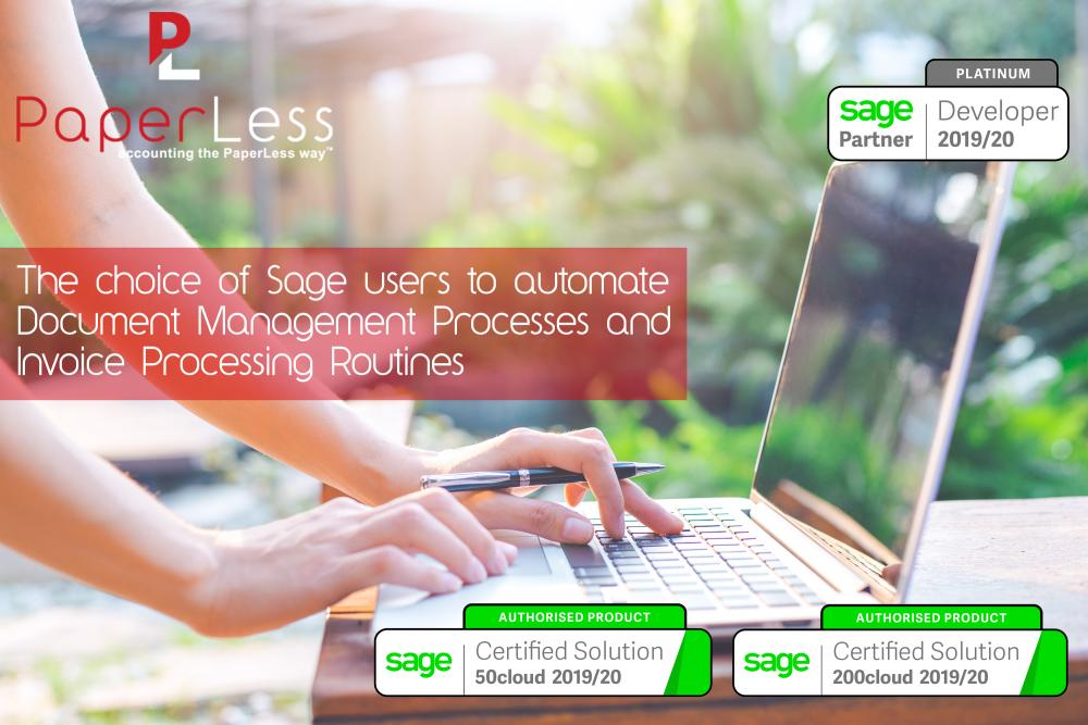 PaperLess Document Software powers Sage Automation Pack making it the top choice of Finance Professionals to automate document management processes and speed up invoice processing and invoice approval routines.