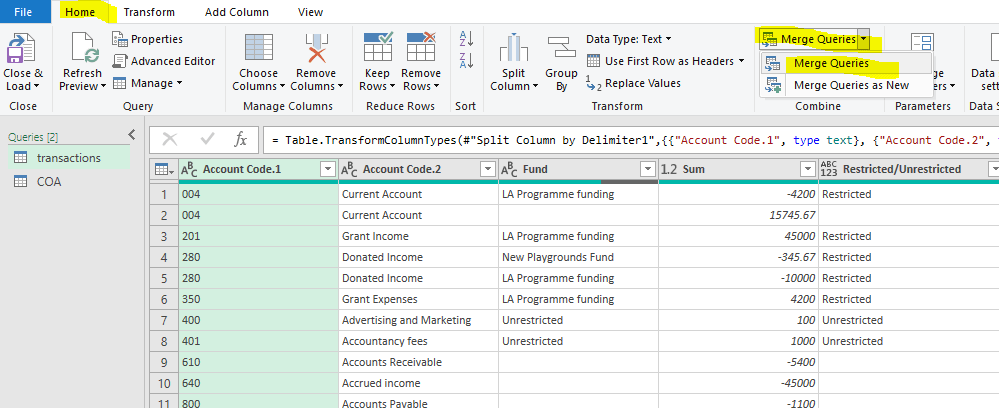 Figure 10: Merge queries on the Home Tab