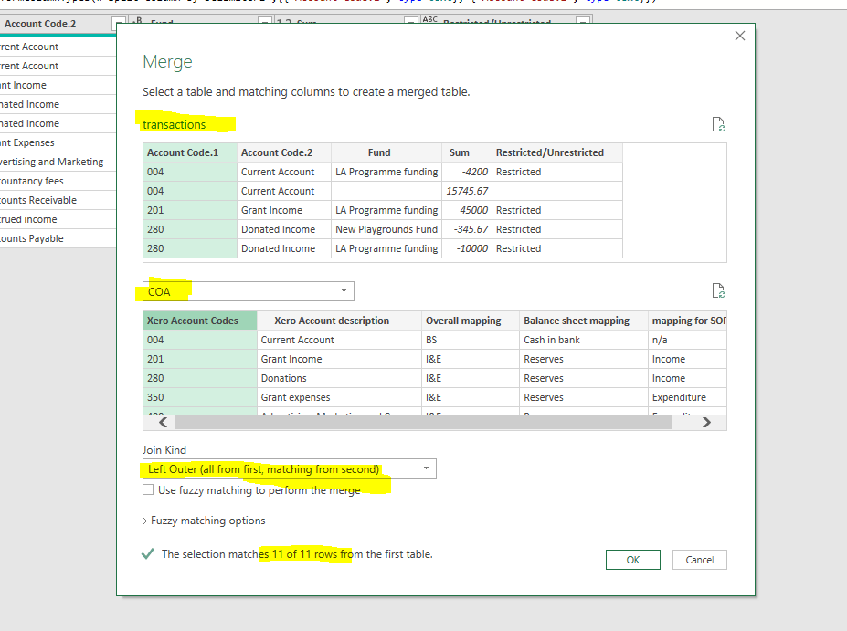 Figure 11 – merge data dialogue