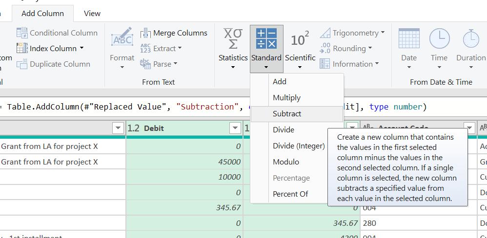 Figure 9: Creating a net column