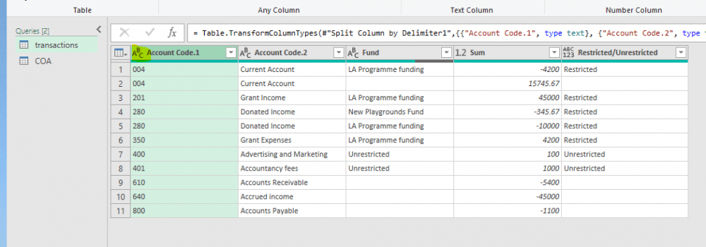 Figure 9: results after account code split and after changing data type in the account code column