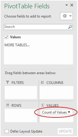 Count in a pivottable