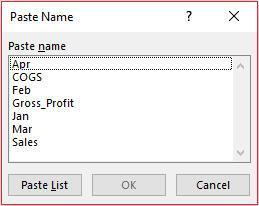 Paste name dialog box