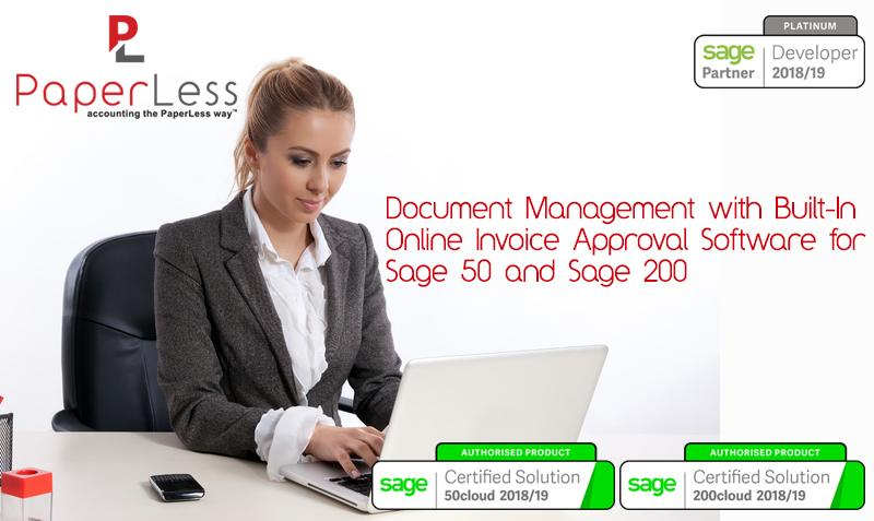 Invoice approval software for Sage 50 and Sage 200 powered by PaperLess Document Management for Sage. The best and easiest way to approve invoices in Sage.