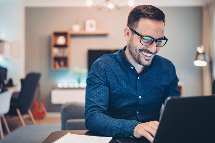 Man using website integration platform to pay for something
