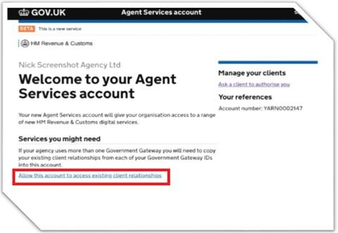 Link agent services account