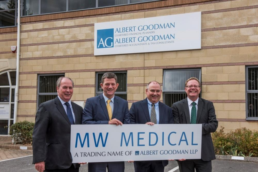 (Left to right: Martin Caulfield, director, MW Medical; Richard Bugler, managing partner, Albert Goodman; Jim Duggan, partner, MW Medical; and Nick Hancock, partner and dental specialist, Albert Goodman))