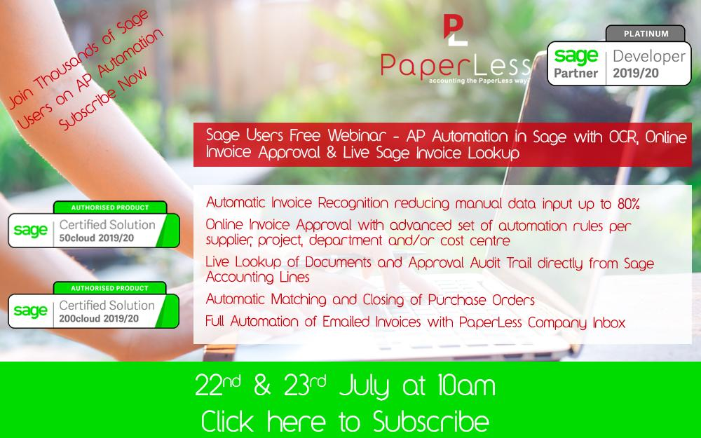 AP Automation for Sage Free Webinar, powered by PaperLess Document Management Software. OCR, Invoice Approval and Automatic Attach of Invoices to Sage is the best way to automate accounts payable provesses.