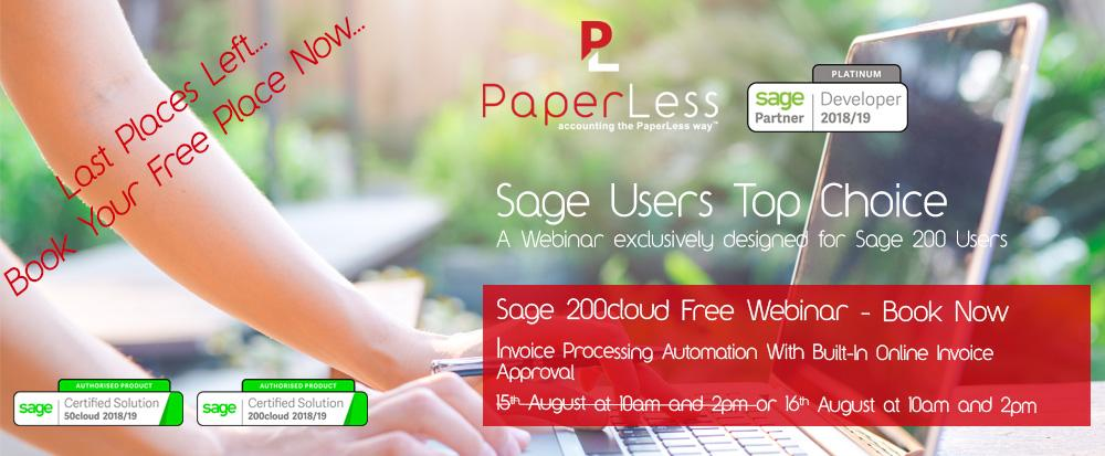Sage Free Webinar introduces PaperLess Document Management. The Top Choice of Sage users to automate invoice scanning, invoice processing and invoice approval routines across Finance Departments.