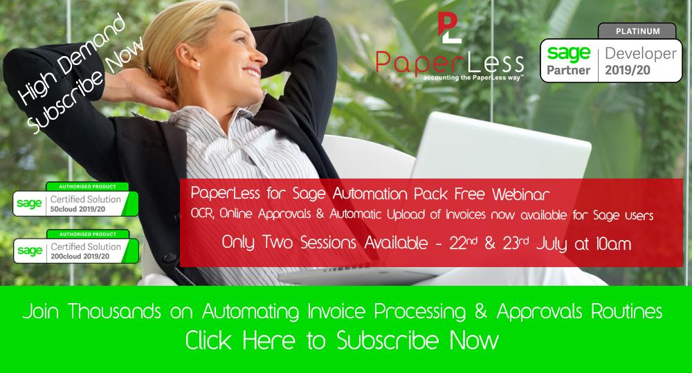PaperLess for Sage Automation Pack Free Webinar. Join thousands of Sage users on automating document management processes, invoice scanning, invoice processing and invoice approval routines.