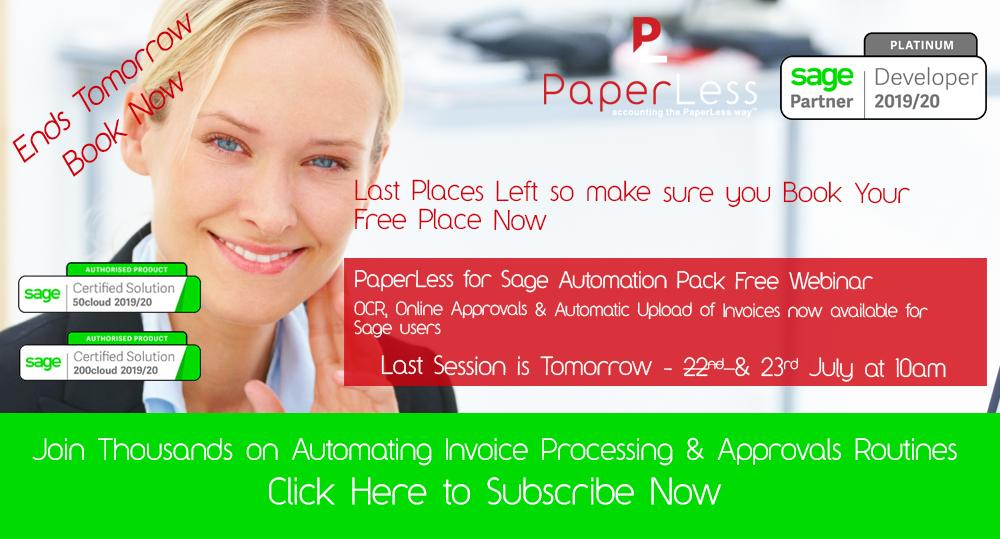 Sage Automation with PaperLess Document Management Software. Attend this webinar exclusively designed for Sage users to find out more about invoice approval, invoice data capture and automatic scanning of invoices into Sage.