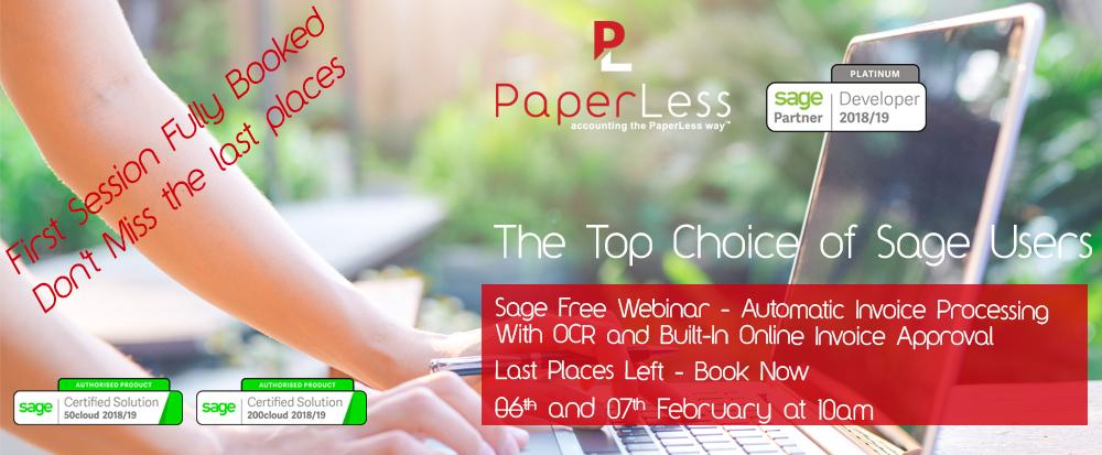 Sage Free Webinar introduces PaperLess Document Management as the preferred choice of Sage users to Automate Invoice Processing, Invoice Scanning and Invoice Approval Routines.
