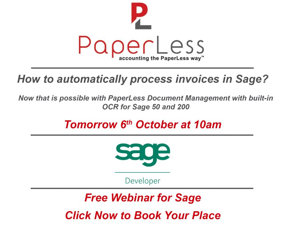 Paperless Document Management for Sage with OCR software Free Webinar for Sage 50 and Sage 200