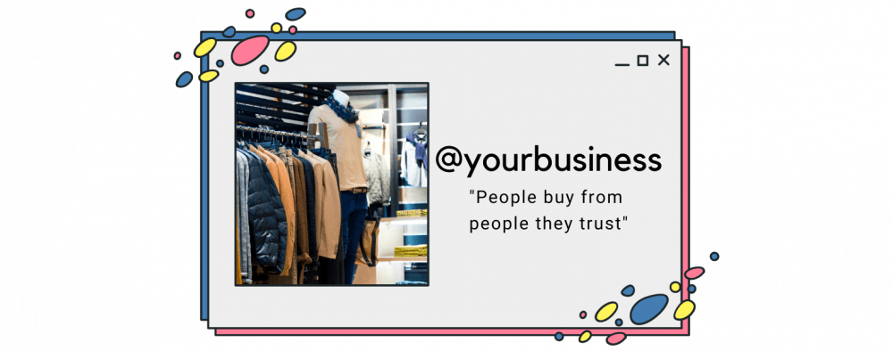 """""""People buy from people they trust"""" quote on a social media message"""