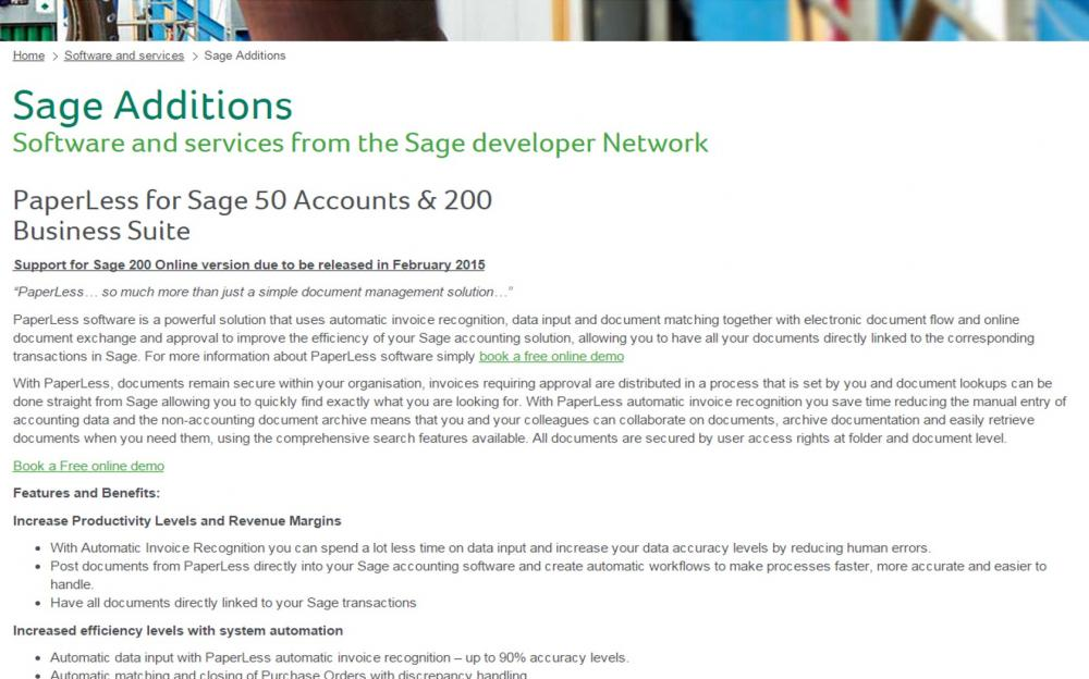 Sage additions catalogue introduces PaperLess Document Management