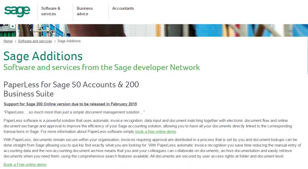 Sage Additions catalogue - PaperLess powerful document management seamless integrated with Sage, with OCR, Document Flow