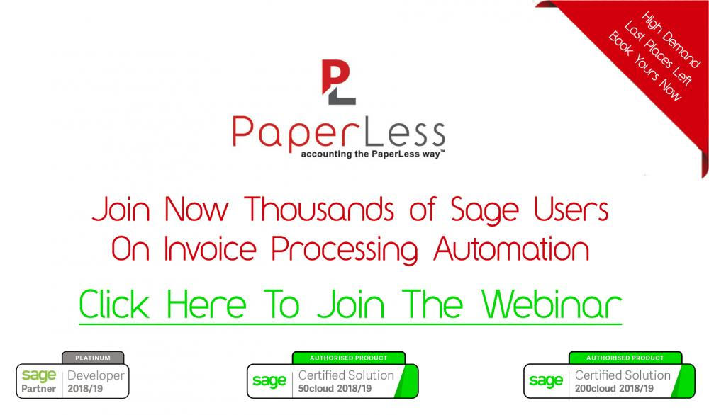 Sage Free Webinar introducing OCR, Online Invoice Approval and Automatic Scanning of invoices into Sage.