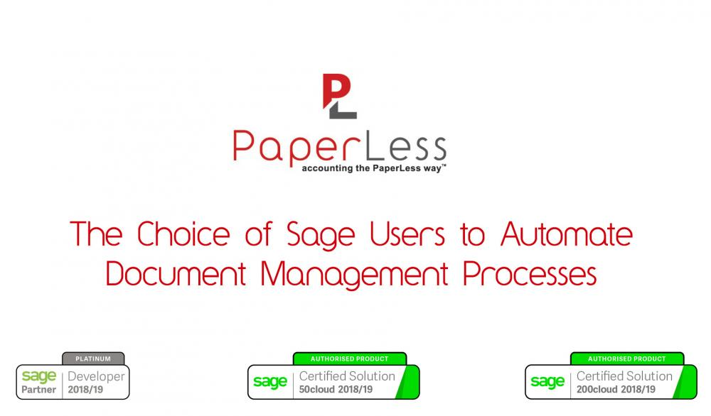 PaperLess Document Management software for Sage is allowing thousands of Sage users across UK and Ireland to go PaperLess and automate invoice processing across finance departments.