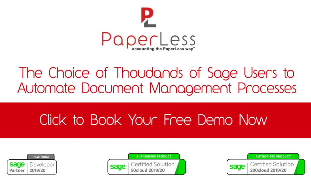 Free Online Demonstration of PaperLess Document Management for Sage featuring PaperLess Automation for Sage. The best document management solution for Sage 50cloud, Sage 200cloud, Sage 200 Standard Online and Sage 200 Extra Online.