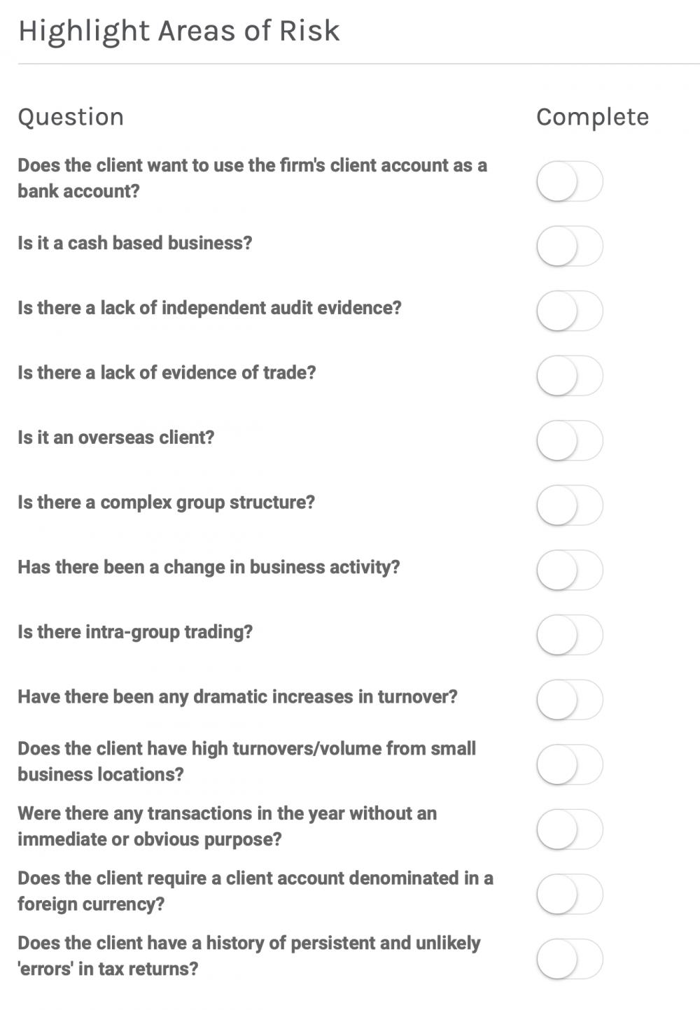 risk assessment for accountants