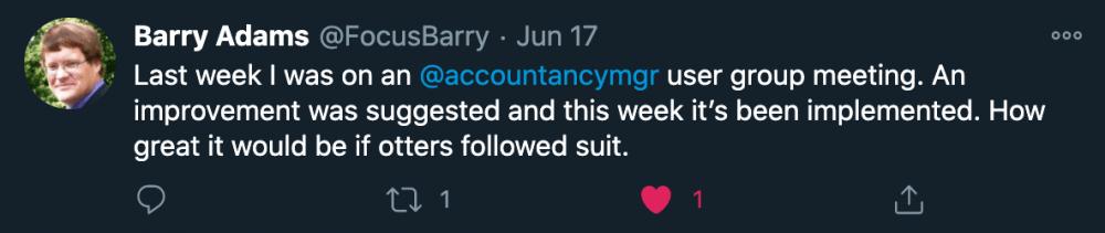 Image showing Barry Adams tweet