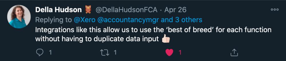 Image showing Della Hudson tweet
