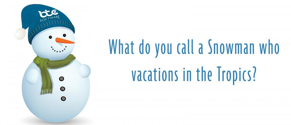What do you call a snowman who vacations in the tropics?