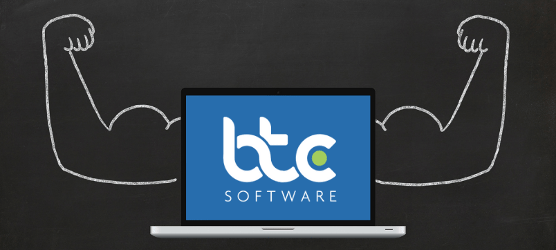 Strong laptop with BTCSoftware logo - The power of integrations