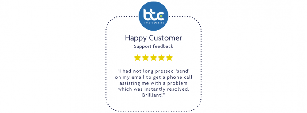 """Can I sacrifice excellent customer care? This customer review says that BTCSoftware's support team called them as soon as they received their email and resolved the issue. The customer says """"Briliant"""""""