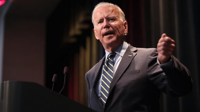 oe Biden speaking with attendees at the 2019 Iowa Federation of Labor Convention.