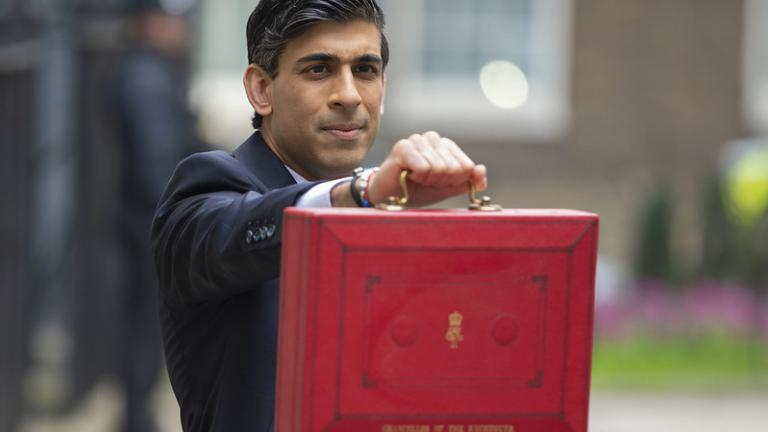 The Chancellor Rishi Sunak leaving No.11 Downing Street on his way to deliver his budget speech