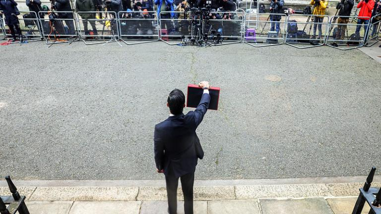 Chancellor of the Exchequer Rishi Sunak leaves 11 Downing Street to announce his Budget. 10 Downing Street.