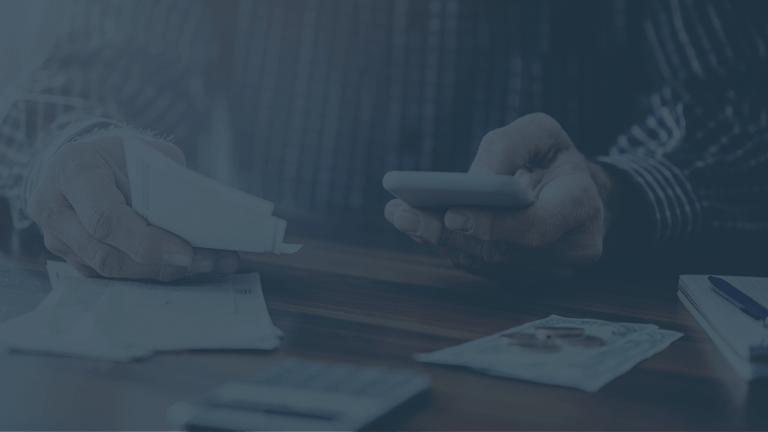 Accountant using digital receipt technology