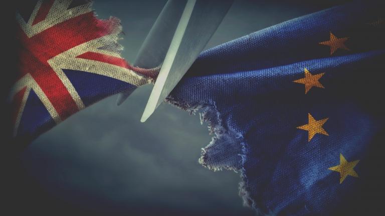 Flags of the United Kingdom and the European Uni