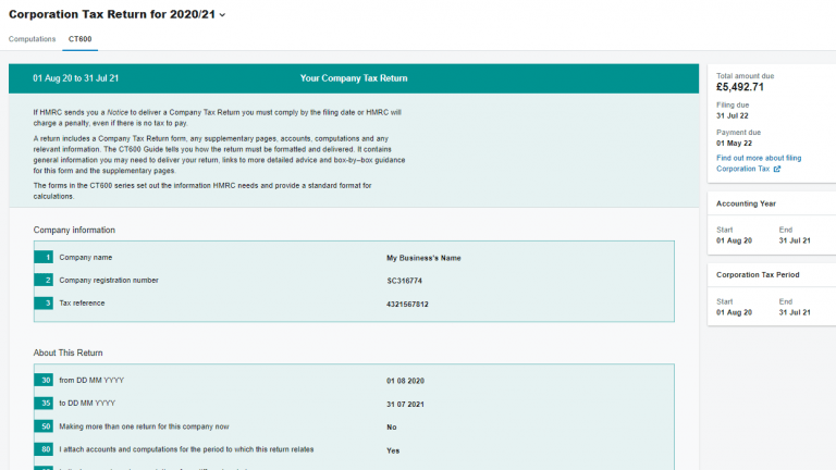 FreeAgent corporation tax report screenshot