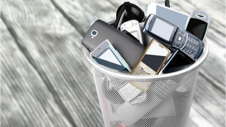Telephones in a bin